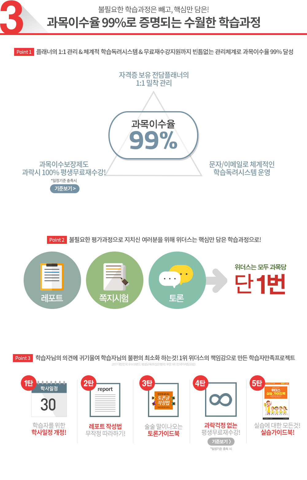 과목이수율99%로 증명되는 수월한 학습과정